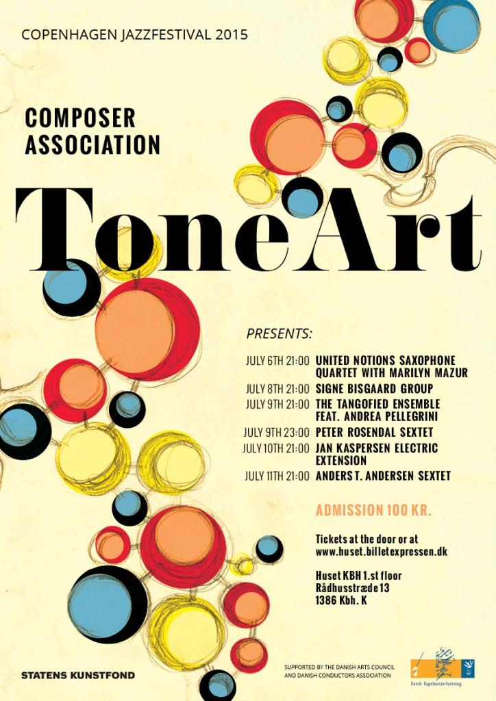 Program for Paradise Jazz på Copenhagen Jazzfestival 2015 Komponistforeningen Toneart